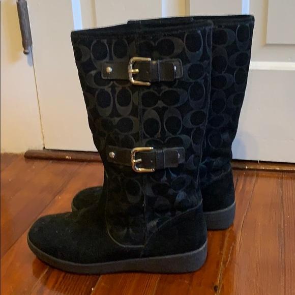 Coach black suede boots